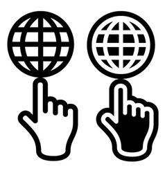 hand and globe black symbol vector image