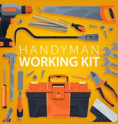 Handyman working tools kit carpentry toolbox vector