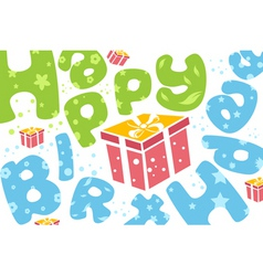 happy birthday card with present vector image