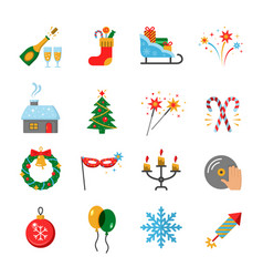 happy new year flat icons set vector image