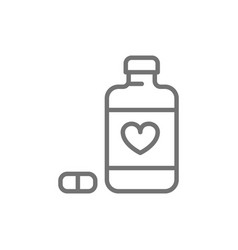 Heart disease pills line icon isolated on white vector