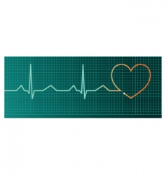 heart pulse monitor red heart vector image
