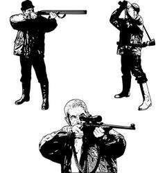 hunters sketch set vector image
