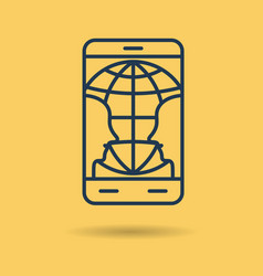 icon two people communicate by smart phone vector image
