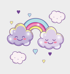 Kawaii fluffy clouds with rainbow and hearts vector
