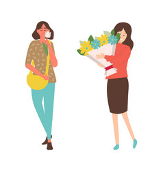 ladies with flowers celebrating women day isolated vector image