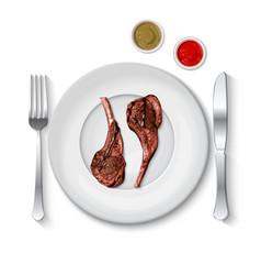 Lamb chop with sauce vector