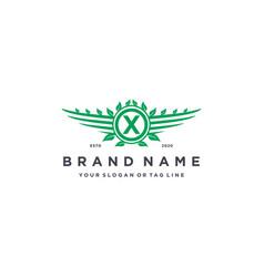 Letter x leaf wing logo design concept vector