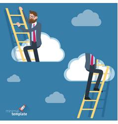 man climbing through clouds in sky vector image