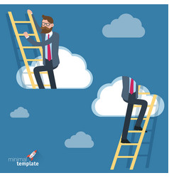 man climbing through clouds in the sky vector image