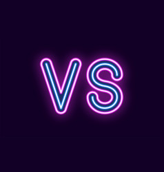 neon inscription of versus vector image