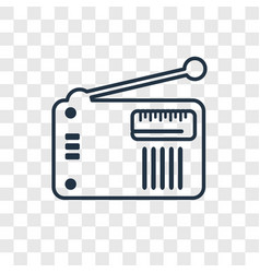 Old radio with antenna concept linear icon vector