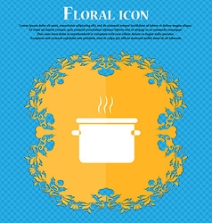 pan cooking icon sign Floral flat design on a blue vector image