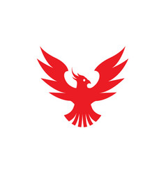 phoenix flying bird red eagle open wings logo vector image