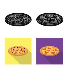 Pizza and food symbol set vector