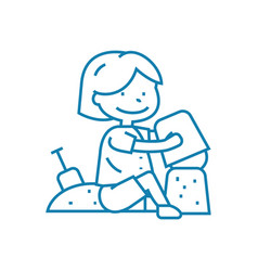 playing in the sandbox linear icon concept vector image