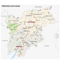 Road map italian region trentino alto adige vector