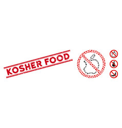Scratched kosher food line seal with mosaic no vector