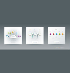 Set infographics 3d circle label with arrows sign vector