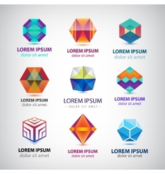 set of 3d abstract crystal modern colorful vector image