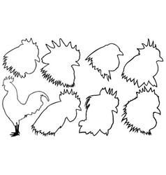 set rooster heads vector image