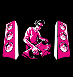 silhouette a dj wearing headphones and vector image