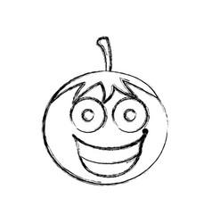 silhouette kawaii happy tomato icon vector image
