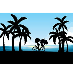 Silhouette of man and woman cycling vector image