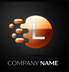 silver letter l logo gold dots splash and bubble vector image