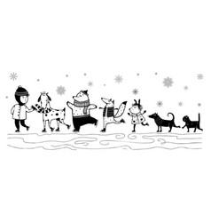 Skiing kid and animals pets friends in winter vector
