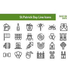 stpatricks day icon set outline icon base on 64 vector image
