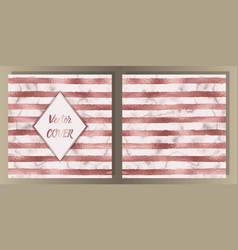 Stripe pink gold foil and marble cover set vector