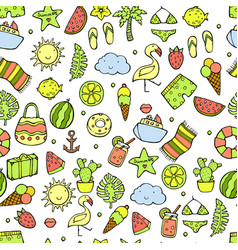 summer pattern watermelon pineapple and holiday vector image