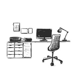 table with a computer or workplace drawn by hand vector image