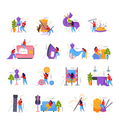 Tailoring flat icon set vector