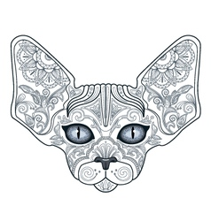 Tattoo head sphinx cat with floral ornaments vector