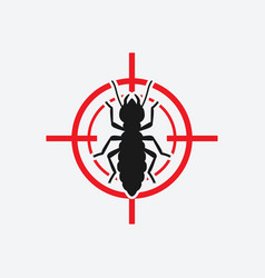 termite icon red target insect pest control sign vector image