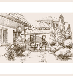 terrace home garden relaxing place table chairs vector image