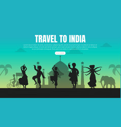 Travel to india landing page template tourist vector
