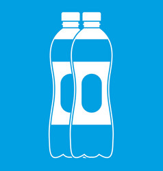 two plastic bottles icon white vector image