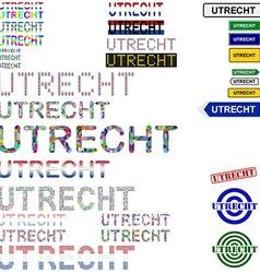 Utrecht text design set vector