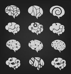 Various brain creation and idea icons vector