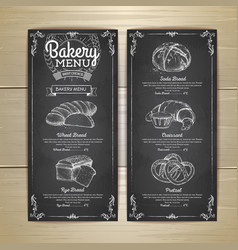vintage chalk drawing bakery menu design vector image