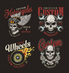 vintage motorcycle colorful emblems vector image