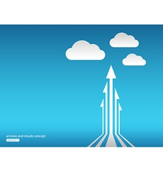 Abstract concept with arrows and clouds in the sky vector