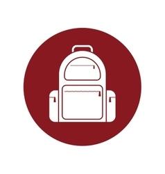 backpack traveler vacation red circle vector image
