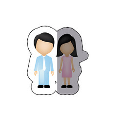 color couple with black hair icon vector image vector image