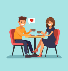 man and wooman sitting in a cafe vector image vector image