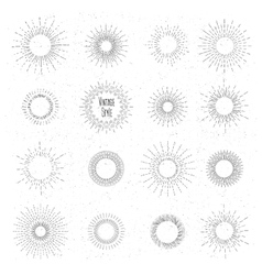 Retro hand drawn sunburst set Sun ray frames in vector image