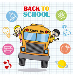 school bus with children vector image vector image